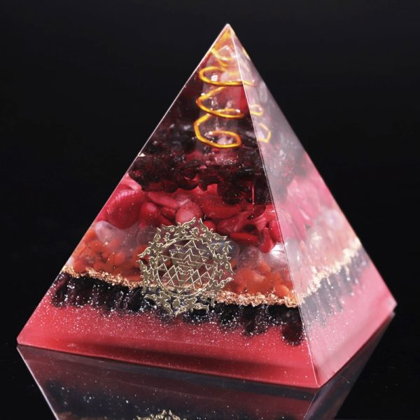 Garnet Opal Red Agate Copper Generator Orgone Pyramid Angled View 2