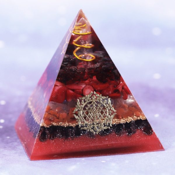 Garnet Opal Red Agate Copper Generator Orgone Pyramid Angled View