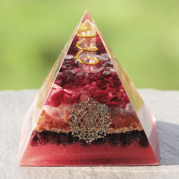 Garnet Opal Red Agate Copper Generator Orgone Pyramid Front View Close Up