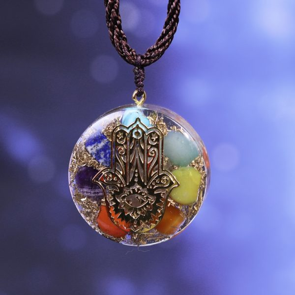Hand Of Fatima 7 Chakra Energy Orgone Pendant Necklace Frontal View