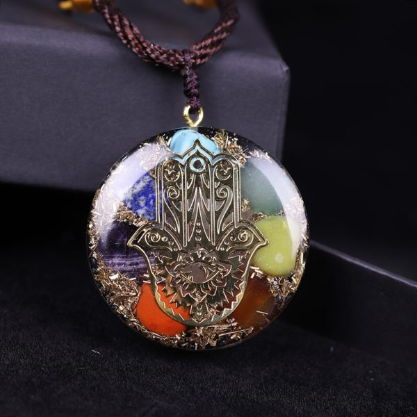 Hand Of Fatima 7 Chakra Energy Orgone Pendant Necklace Top View