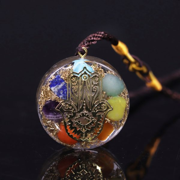 Hand Of Fatima 7 Chakra Energy Orgone Pendant Necklace Top View Black Background