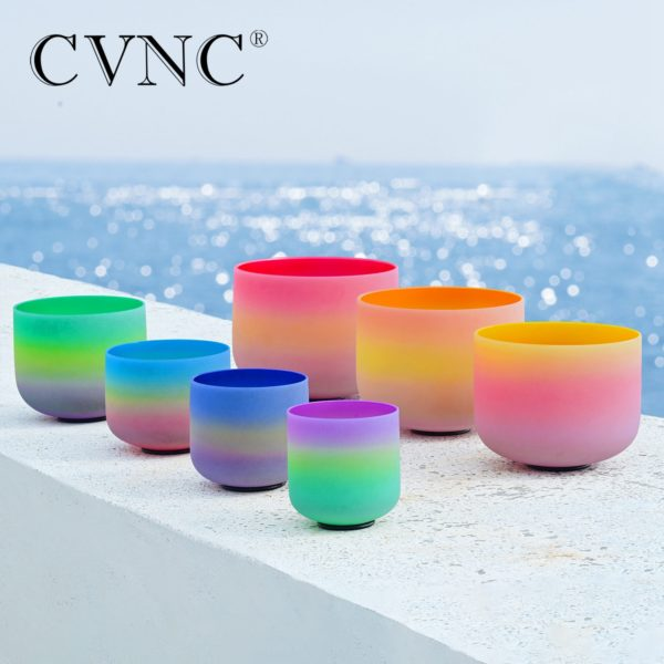 Rainbow Frosted Quartz Crystal Singing Bowl Set Ocean Display Angle