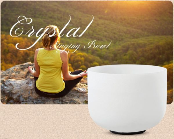 White Frosted Quartz Crystal Singing Bowl With Meditation